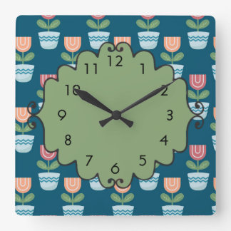 Cute Pink Peach Flowers on Blue Square Wall Clock