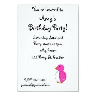 "Cute pink penguin 3.5"" x 5"" invitation card"