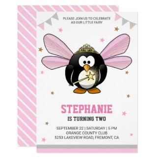 Cute Pink Penguin Fairy Birthday Party Invitation