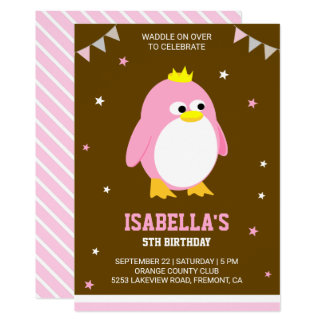 Cute Pink Penguin Girls Birthday Party Invitation