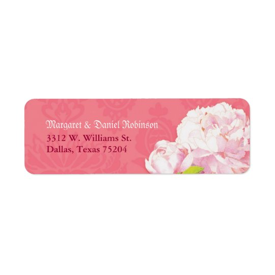 Cute Pink Peony Wedding Return Address Labels