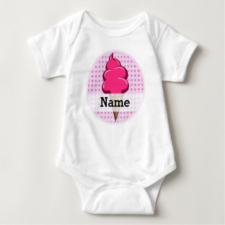 Cute pink personalized ice cream for girls baby bodysuit