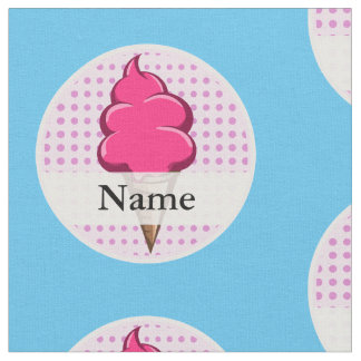 Cute pink personalized ice cream for girls fabric
