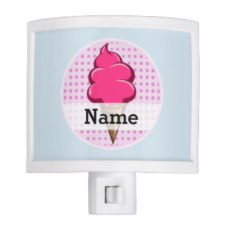Cute pink personalized ice cream for girls nite light