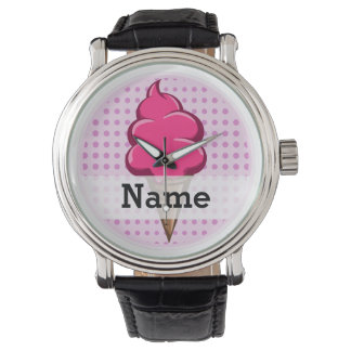 Cute pink personalized ice cream for girls wrist watch