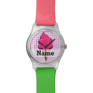 Cute pink personalized ice cream for girls wristwatches