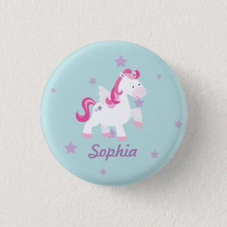 Cute Pink Personalized Magical Unicorn Button/Pin 1 Inch Round Button