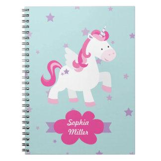 Cute Pink Personalized Magical Unicorn Notebook