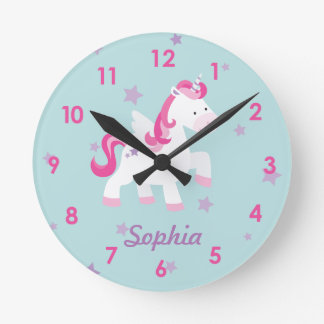 Cute Pink Personalized Magical Unicorn Wall Clock