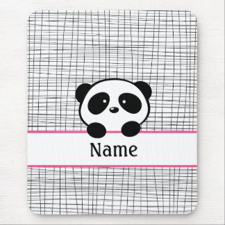 Cute Pink Personalized Panda Mouse Pad
