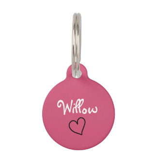 Cute Pink Personalized Pet Tag with Heart