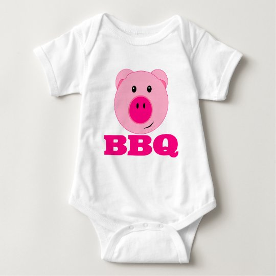 Cute Pink Pig BBQ Baby Bodysuit