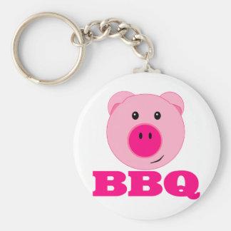 Cute Pink Pig BBQ Basic Round Button Keychain