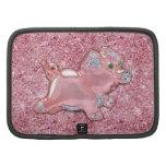 Cute Pink Pig glitter photo print & green emerald Folio Planner