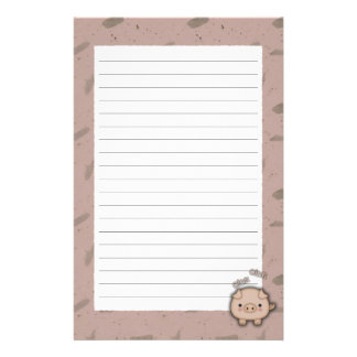Cute Pink Pig Oink Pink Background Stationery Design