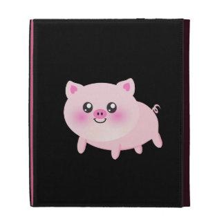 Cute Pink Pig on Black iPad Cases