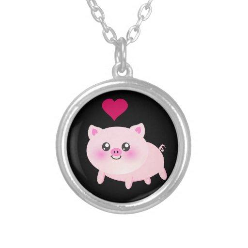 Cute Pink Pig on Black Pendant