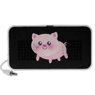 Cute Pink Pig on Black Mini Speaker