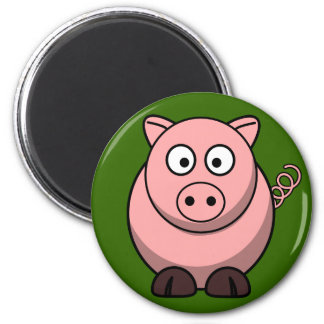 Cute Pink Pig On Green Grass Fridge Magnet