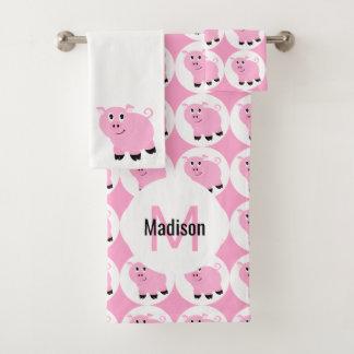 Cute Pink Pig Pattern Kids Monogrammed Animal Bath Towel Set