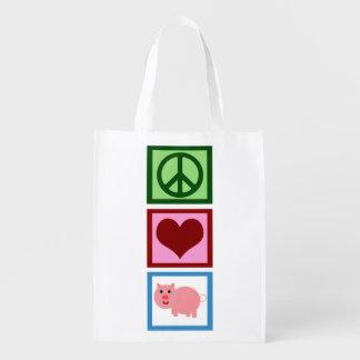 Cute Pink Pig Reusable Grocery Bag