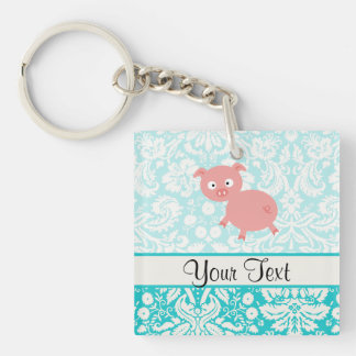 Cute Pink Pig; Teal Damask Acrylic Key Chain