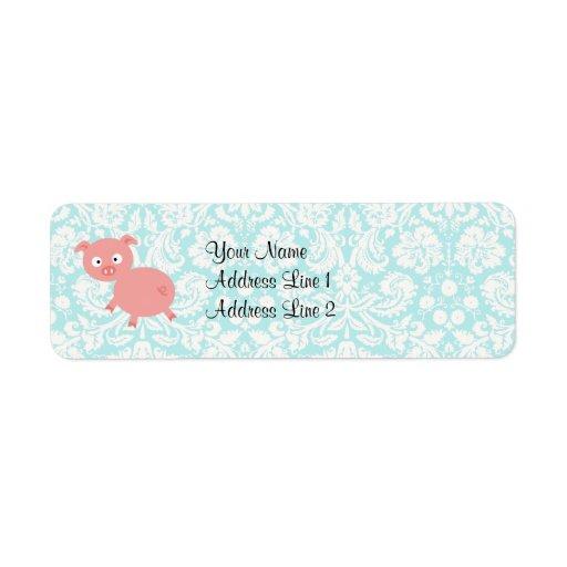 Cute Pink Pig; Teal Damask Return Address Labels