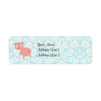 Cute Pink Pig; Teal Damask Return Address Label