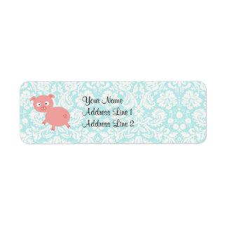 Cute Pink Pig Teal Damask Return Address Labels