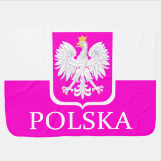 Cute Pink Poland Polska Flag Coat of Arms Baby Blanket