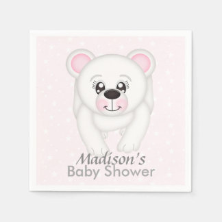 Cute Pink Polar Bear Baby Shower Napkins Paper Napkins
