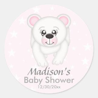 Cute Pink Polar Bear Baby Shower Stickers