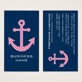 Cute Pink Polka Dot Anchor with Navy Custom Name Business Card