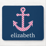 Cute Pink Polka Dot Anchor with Navy Custom Name Mouse Pad