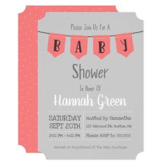 Cute Pink Polka Dot Baby Shower Invitation