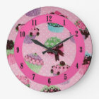 Cute Pink Polka Dot Cupcake Wall Clock. Large Clock