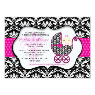 Cute Pink Polka Dot Damask Baby Shower Invite