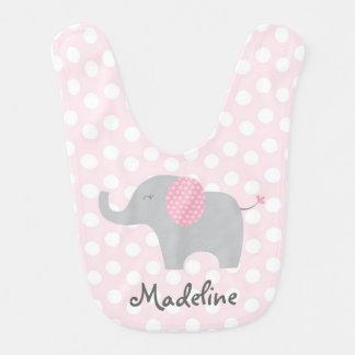 Cute Pink Polka Dot Elephant Bibs