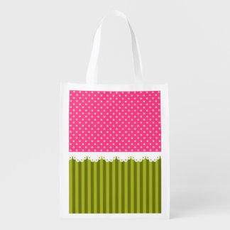 Cute Pink Polka Dot Green Stripes Pattern Reusable Grocery Bag