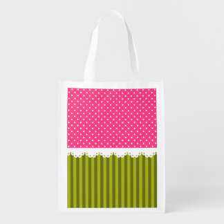 Cute Pink Polka Dot Green Stripes Pattern Reusable Grocery Bags