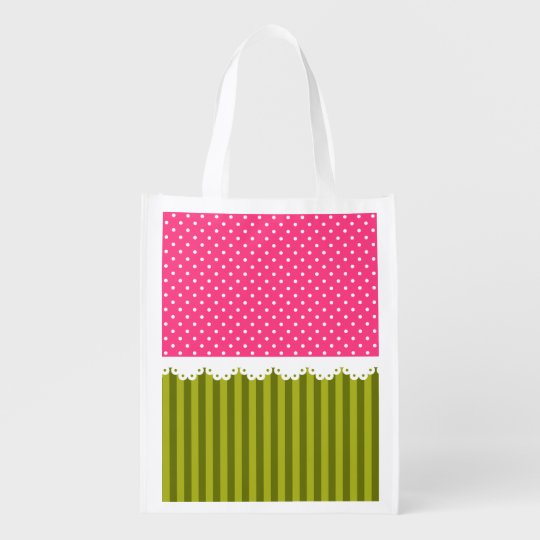 Cute Pink Polka Dot Green Stripes Pattern Reusable Grocery Bags