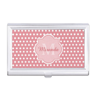 Cute Pink Polka Dots With Girly Monogram and Name Business Card Holders