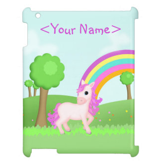 Cute Pink Pony Horse in Colorful Fields Scene Case For The iPad