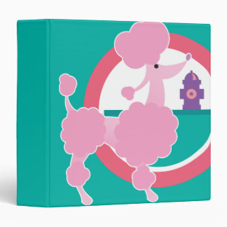 cute pink poodle notebook 3 ring binder