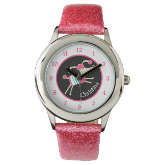 Cute Pink Poodle Personalized Kids Wrist Watches