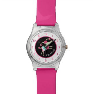 Cute Pink Poodle Personalized Wristwatch