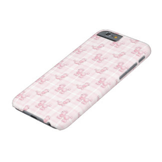 Cute Pink Poodles & Checks Barely There iPhone 6 Case