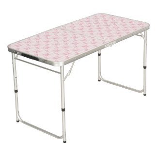Cute Pink Poodles & Checks Beer Pong Table