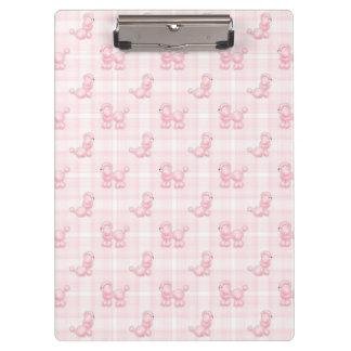 Cute Pink Poodles & Checks Clipboard