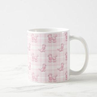 Cute Pink Poodles & Checks Coffee Mug
